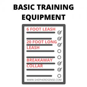 german shepherd basic training list with a checklist of equipment